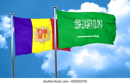 Andorra flag with Saudi Arabia flag, 3D rendering