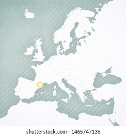 Andorra on the map of Europe with softly striped vintage background.