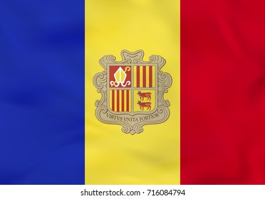 Andorra waving flag. Andorra national flag background texture. Raster copy.