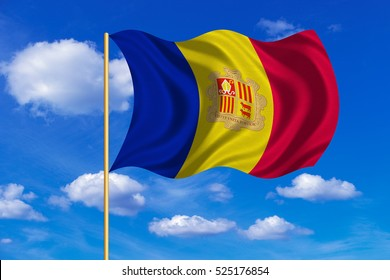 Andorran national official flag. Patriotic symbol, banner, element, background. Correct colors. Flag of Andorra on flagpole waving in the wind, blue sky background. Fabric texture