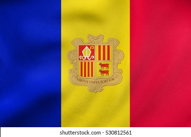 Andorran national official flag. Patriotic symbol, banner, element, background. Correct colors. Flag of Andorra waving in the wind, real detailed fabric texture. 3D illustration