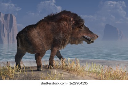 Andrewsarchus, an extinct creature of the Eocene period, was possibly the largest carnivorous land mammal ever, known only from a single fossil skull found in Mongolia.  3D Rendering