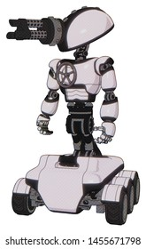Android containing elements: gatling gun face design, light chest exoshielding, chest valve crank, six-wheeler base. Material: White halftone toon. Situation: Standing looking right restful pose.