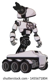 Android containing elements: gatling gun face design, light chest exoshielding, chest valve crank, six-wheeler base. Material: White halftone toon. Situation: Hero pose.