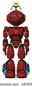 Android containing elements: oval wide head, telescopic steampunk eyes, minibot ornament, light chest exoshielding, red chest button, light leg exoshielding, megneto-hovers foot mod.