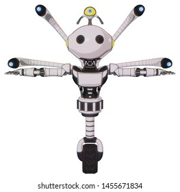 Android containing elements: oval wide head, beady black eyes, minibot ornament, light chest exoshielding, ultralight chest exosuit, blue-eye cam cable tentacles, unicycle wheel.