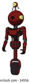 Android containing elements: oval wide head, minibot ornament, light chest exoshielding, ultralight chest exosuit, unicycle wheel. Material: Matted red. Situation: Standing looking right restful pose.