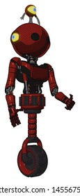 Android containing elements: oval wide head, minibot ornament, light chest exoshielding, ultralight chest exosuit, unicycle wheel. Material: Matted red. Situation: Facing left view.