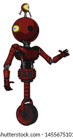 Android containing elements: oval wide head, minibot ornament, light chest exoshielding, ultralight chest exosuit, unicycle wheel. Material: Matted red. Situation: Interacting.
