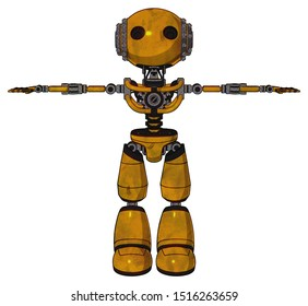 Android containing elements: oval wide head, steampunk iron bands with bolts, light chest exoshielding, no chest plating, light leg exoshielding. Material: Worn construction yellow. Situation: T-pose.