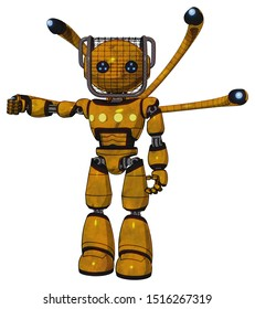 Android containing elements: oval wide head, blue led eyes, barbed wire visor helmet, light chest exoshielding, yellow chest lights, blue-eye cam cable tentacles, light leg exoshielding.