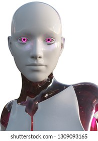 Android Female Pink and White High Tech Modern Beauty Artificial Intelligence 3D Illustration