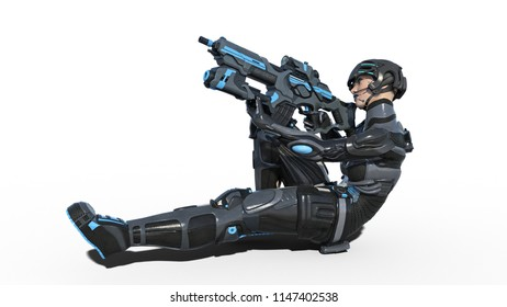Android female soldier, military cyborg woman armed with rifle laying and shooting on white background, sci-fi girl, 3D rendering