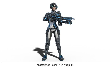 Android female soldier, military cyborg woman armed with rifle on white background, sci-fi girl, 3D rendering