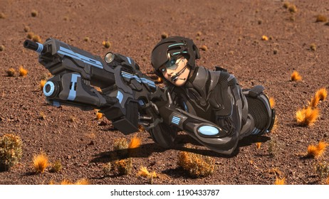 Android female soldier, military cyborg woman armed with rifle shooting on desert ground, sci-fi girl, 3D rendering