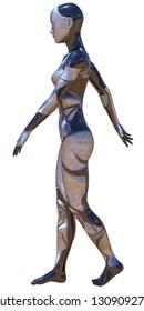 Android Female Used Metallic Look Futuristic Artificial Intelligence 3D Illustration