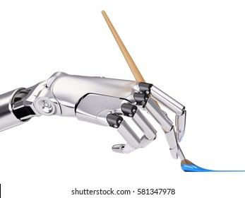 Android Hand Painting with Brush Artificial Intelligence Creativity Concept 3d illustration