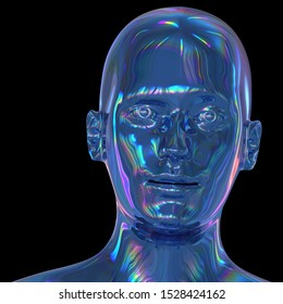 Android head iron cyborg man stylized portrait polished blue metallic. Human robot face iron shining reflections colorful avatar concept. 3d rendering on black