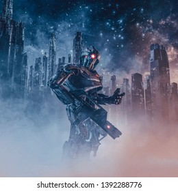 The android patrolman / 3D illustration of science fiction scene with armoured military robot with laser rifle patrolling futuristic city ruins shrouded in mist