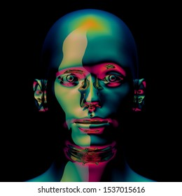 Android portrait metallic head green golden polished avatar. Futuristic character robot face close-up. 3d illustration. Isolated on black