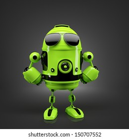 Android posing in sunglasses. Technology concept