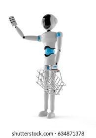 Android with shopping basket isolated on white background. 3d illustration - Shutterstock ID 634871378