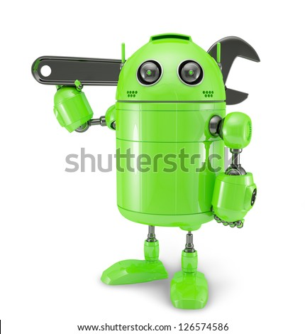Android with wrench. Repair concept. Isolated on white