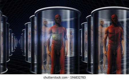Androids in storage or transport on ship