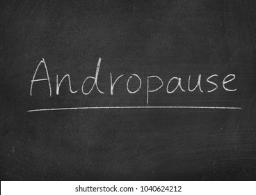 Andropause concept word on a blackboard background