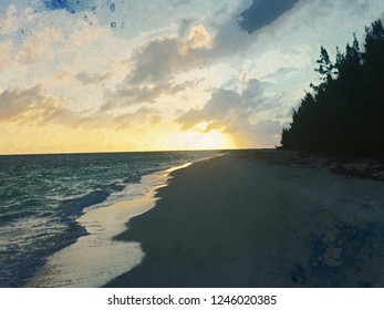 Anegada Beach Sunset Water Color