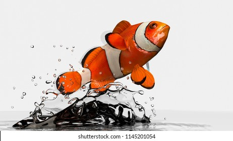 Anemone clownfish jumped and twisted in air. 3d rendering