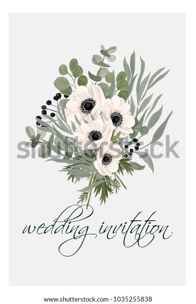 Anemones Wedding Invitations Templates Commercial Stock