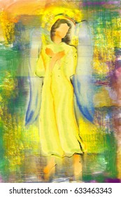 An angel or archangel with hands crossed on the chest. Colorful abstract religious modern illustration, digital painting made without reference image,