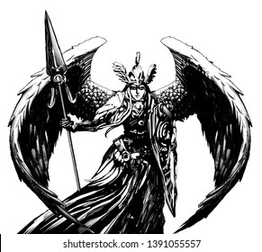 Angel in armor with large wings , holding a shield and a spear