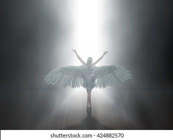angel before open door to heaven, 3d illustration