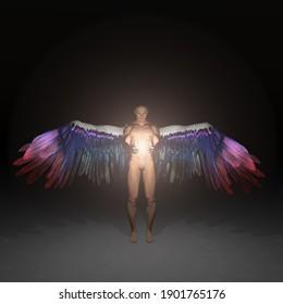 L'ange est porteur de lumière divine. Rendu 3D