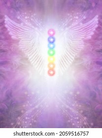 Angel Chakra Wings Certificate award Diploma Background - wide spread wings with seven chakras centrally positioned against  beautiful ethereal magenta background and copy space below