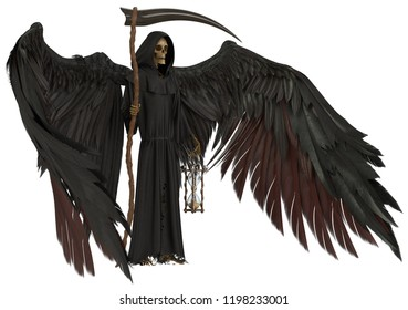 Angel of death isolated on white background 3d illustration