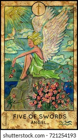 Angel. Five of swords. Fantasy Creatures Tarot full deck. Minor arcana. Hand drawn graphic illustration, engraved colorful painting with occult symbols