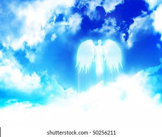 angel flying in the clouds