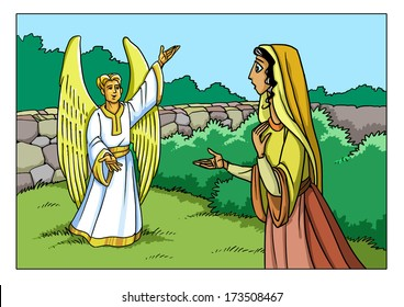 The angel Gabriel tells Mary about the birth of Jesus Christ (Christmas event)