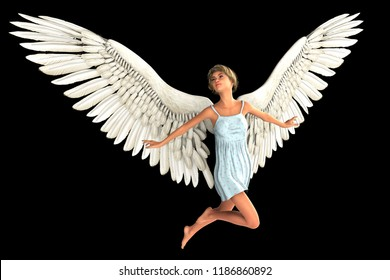 Angel girl isolated on black background. 3D rendering.