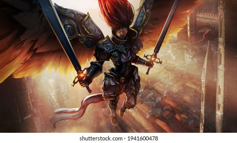 Angel girl, she is a knight in beautiful chased armor with two paired swords in her hands, the dawn shines on her back, she is barefoot soaring in the air, over the city, her eyes are burning.
