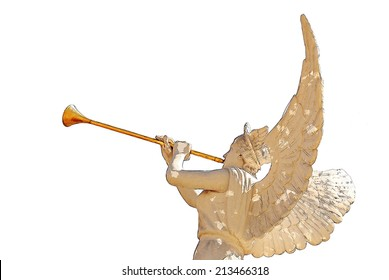 Angel with golden trumpet illustration