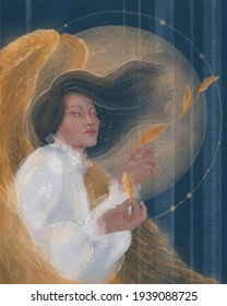 angel with golden wings on the background of the full moon