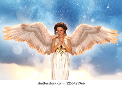 An angel in heaven,3d illustration