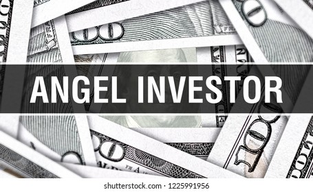 Angel investor Concept Closeup. American Dollars Cash Money,3D rendering. Angel investor at Dollar Banknote. Financial USA money banknote Commercial money investment profit concept