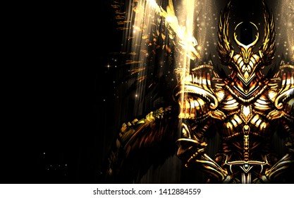Angel knight in heavy armor with wings stands in the dark illuminated by yellow light
