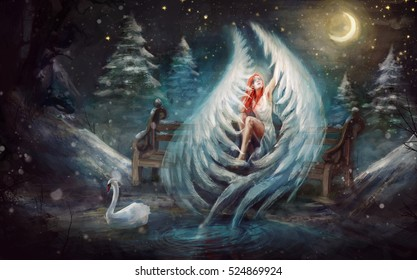angel of love in a star night