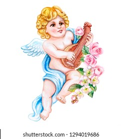 Angel with a musical instrument lute and spring flowers isolated on white background. Watercolor. Illustration. Template. Vintage. Card. Clipart. Close-up. Valentine's Day